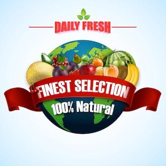 Frutta fresca con nastro rosso su sfondo di terra