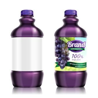 Design del pacchetto di succo d'uva fresco in bottiglia, uno con etichetta vuota