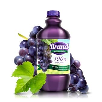 Succo d'uva fresco in bottiglia con frutta e foglie