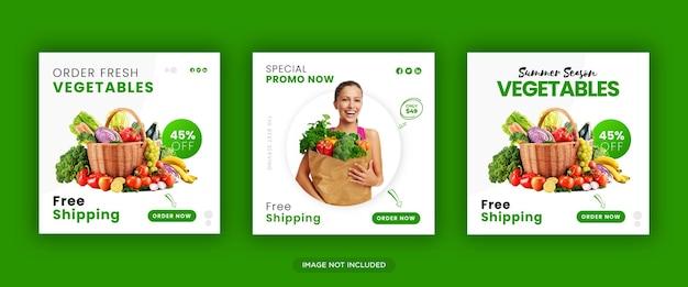 Banner di social media per alimenti e verdure freschi e sani o modello di volantino quadrato vettore premium