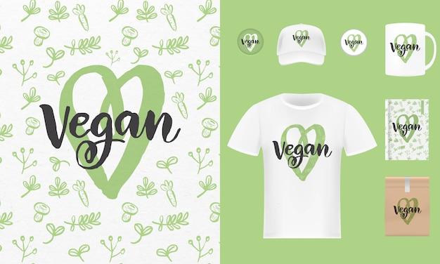 Set di etichette e tag di alimenti vegani biologici freschi freschi