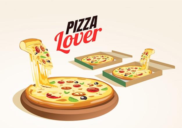 Scatola di consegna deliziosa pizza calda fresca.