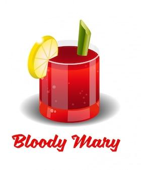 Cocktail di bevande alcoliche rosse ghiacciate con ghiaccio fresco bloody mary in un buon bicchiere a base di vodka, succo di pomodoro fresco, spezie, succo di limone fresco e sedano.