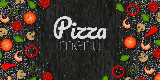 Ingredienti freschi per la vista dall'alto della pizza