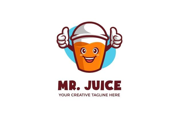 Modello di logo mascotte dei cartoni animati di succo fresco