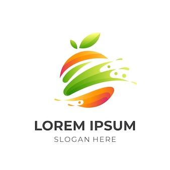 Logo di succo fresco, succo e arancia, logo combinato con stile colorato 3d