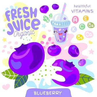 Simpatico personaggio kawaii in vetro organico con succo fresco. stile divertente dei bambini della vitamina succosa astratta della spruzzata della frutta. tazza di frullati di yogurt bacche di mirtillo bacche. illustrazione.