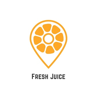 Succo di frutta fresco con arancia come il perno della mappa. concetto di nutrizione, citrico, puntatore, ricerca, trova bar, freschezza, caffetteria. isolato su sfondo bianco. illustrazione vettoriale di design moderno del marchio in stile piatto