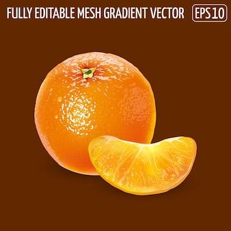 Arancia succosa fresca - design di cibo sano. illustrazione realistica.