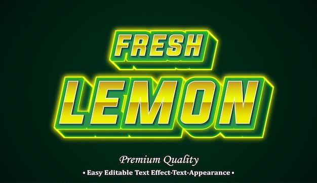 Effetto di stile di carattere di limone fresco 3d