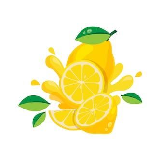 Frutta fresca del limone isolata nella progettazione piana