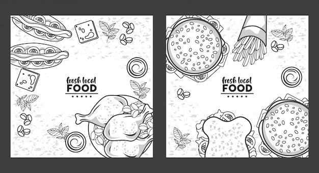 Disegno di cibo locale fresco