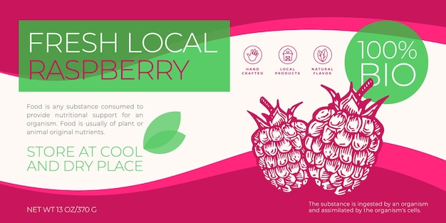 Modello di etichetta di frutta fresca locale e bacche modello astratto vettoriale packaging design orizzontale layout mod...