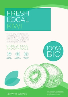 Modello di etichetta di frutta fresca locale astratto vettoriale packaging design layout moderno tipografia banner w...