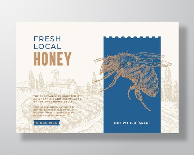 Modello di etichetta di miele locale fresco astratto vettoriale packaging design layout moderno tipografia banner con...