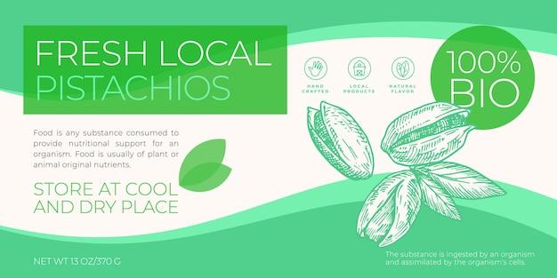 Modello di etichetta di noci locali fresche astratto vettore imballaggio orizzontale design layout tipografia moderna...