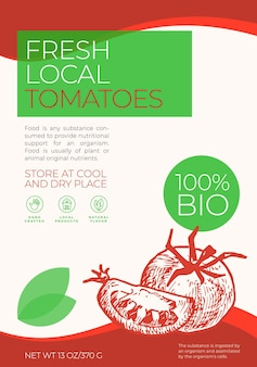 Modello di etichetta di verdure fresche locali astratto vettoriale packaging design layout tipografia moderna bann...
