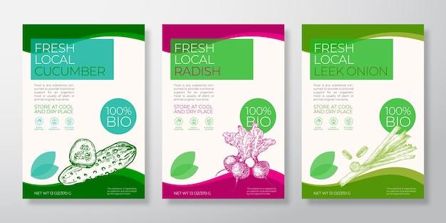I modelli di etichette di verdure locali fresche impostano il divieto di tipografia di raccolta di layout di progettazione di imballaggi vettoriali...