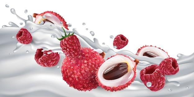Litchi e lamponi freschi su un'ondata di latte o yogurt. illustrazione realistica.