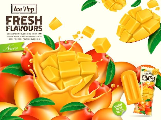 Illustrazione di annunci di pop di ghiaccio di mango fresco