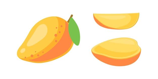 Mango fresco intero e fette. simbolo di frutti estivi. illustrazione in stile cartone animato piatto isolato su bianco