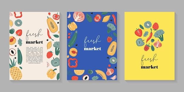 Cartolina poster mercato fresco o collezione di stampe con frutta e verdura fonti di vitamina c