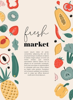 Cartolina poster mercato fresco o stampa con frutta e verdura fonti di vitamina c mercato agricolo