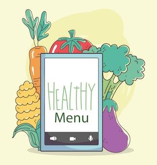 Frutta e verdure sane organiche dell'alimento di frutta e delle verdure dello smartphone del mercato di prodotti freschi