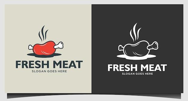 Design del logo della carne fresca Vettore Premium