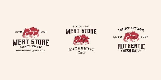Logo di carne fresca modello vettoriale premium, negozio di carne, logo di manzo, steak house, bistecca di manzo
