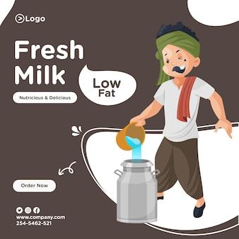 Design di banner di latte fresco con lattaio mescolando acqua nel latte.