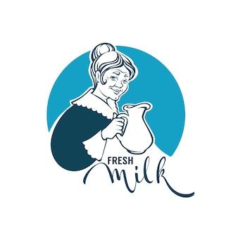 Modello di logo di latte fresco con ritratto di nonna adorabile, brocca di latte e composizione scritta