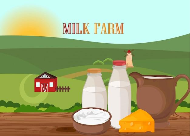 Prodotti lattiero freschi. illustrazione di bandiera del modello di etichetta in stile piatto di villaggio dell'azienda agricola