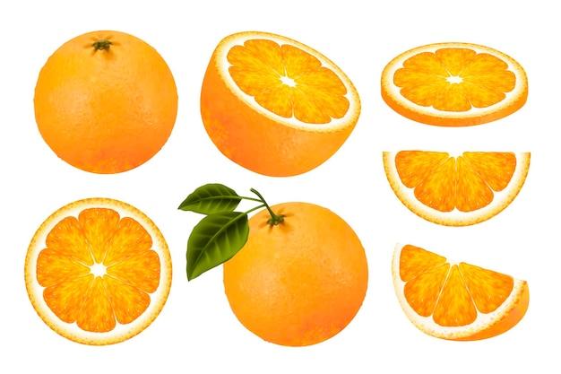 Allegagione arancia fresca, arancia succosa isolata