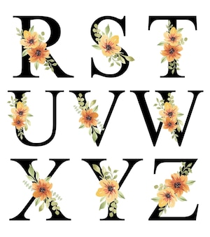 Disegno di alfabeto floreale acquerello arancione fresco rz modificabile