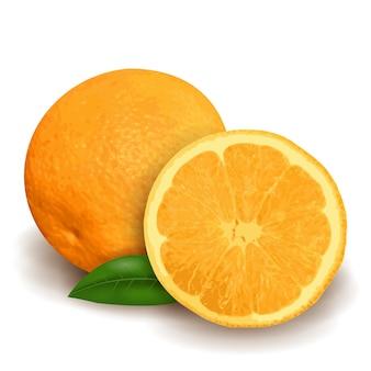 Arancia fresca con foglia verde e fetta isolato su sfondo bianco, design 3d realistico.