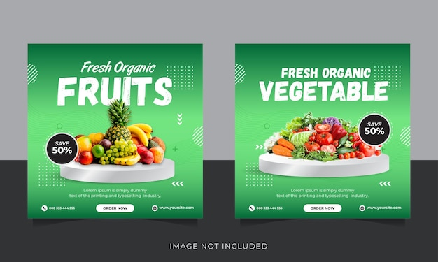 Modello di post sui social media di instagram di consegna di frutta e verdura biologica fresca