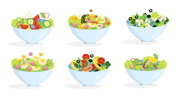 Set di insalata biologica fresca. cena sana a base di verdure
