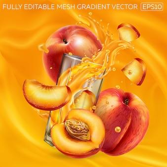 Pesche fresche e un bicchiere di spruzzi di succo su uno sfondo di succo di frutta.