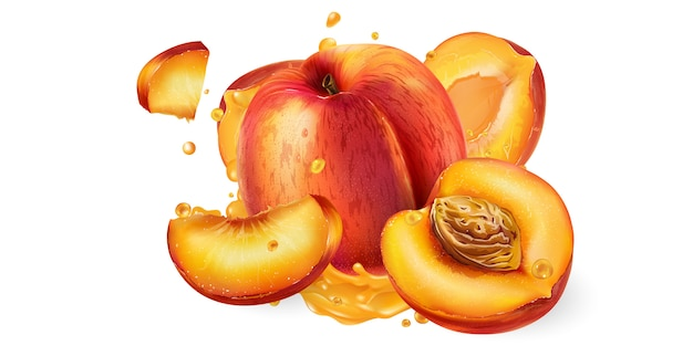 Pesche fresche e una spruzzata di succo di frutta.