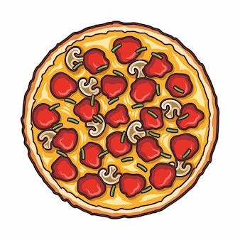 Pizza fresca, fast food italiano tradizionale. pasto con vista dall'alto. spuntino europeo