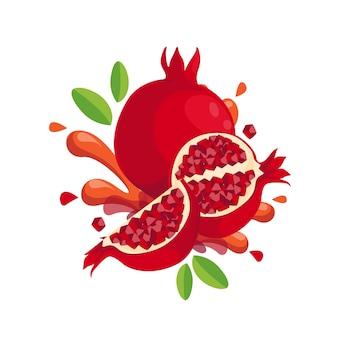 Frutto di melograno fresco isolato in design piatto