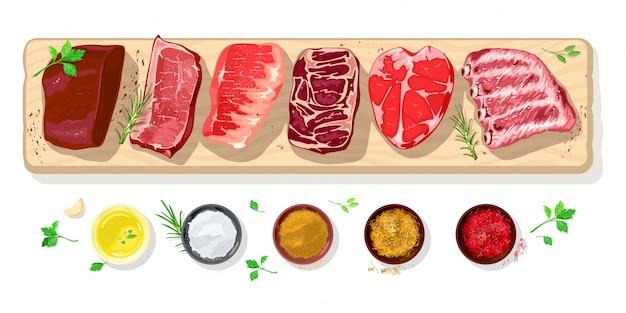 Icone di bistecche crude fresche