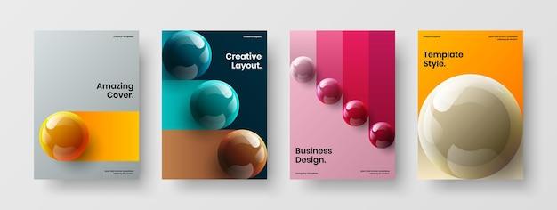 Collezione di modelli di copertina del libro di sfere realistiche fresche