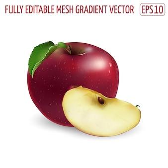 Mela rossa fresca - disegno di cibo sano. illustrazione realistica.