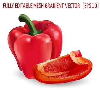 Peperone dolce rosso fresco - disegno di cibo sano. illustrazione realistica.