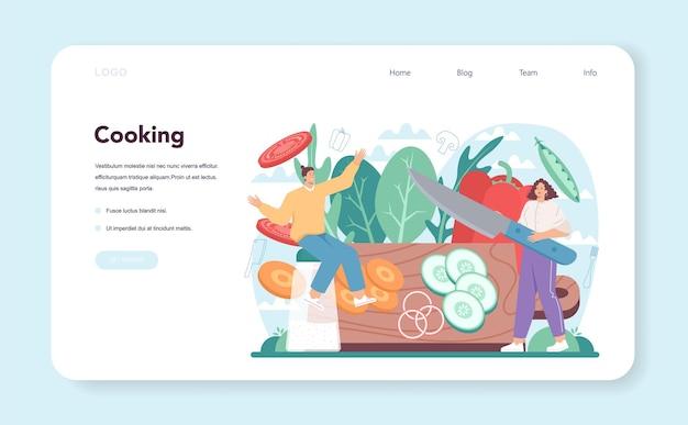 Banner web di insalata fresca o persone della pagina di destinazione che cucinano biologico