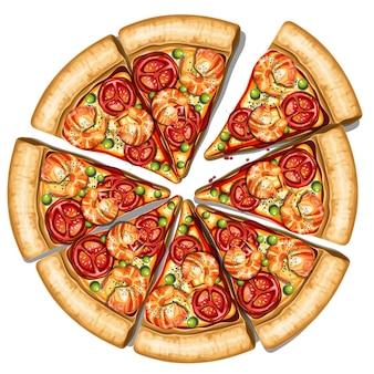Pizza di salsiccia fresca isolata su sfondo bianco vista dall'alto