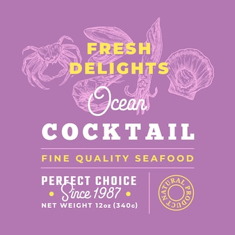 Frutti di mare freschi cocktail delights premium quality label. layout di progettazione del packaging.