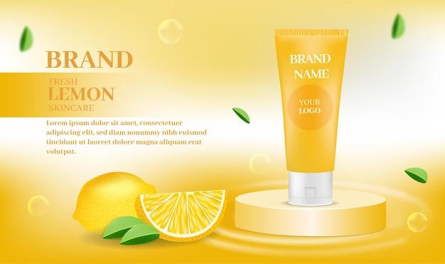 Prodotto cosmetico per la cura della pelle fresca con limone